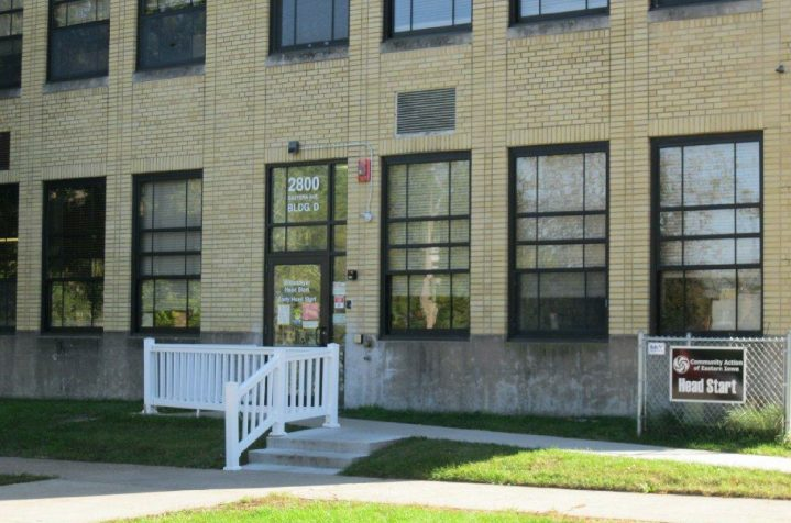 Wittenmyer Head Start Center. Large two story yellow brick building with large windows.