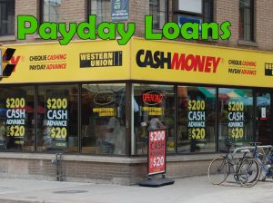 Payday loan storefront.