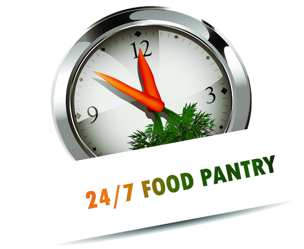 Clock with carrots as hands - Logo for the pantry