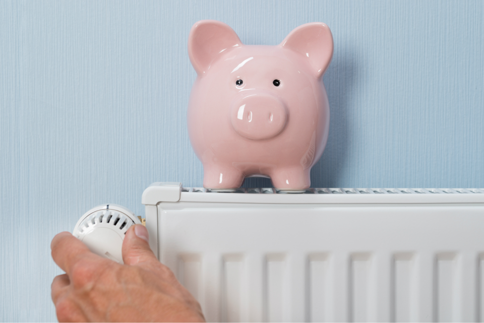 Thermostat with piggy bank