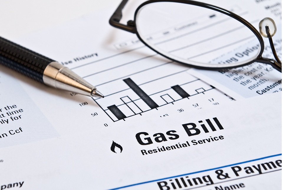 Gas bill with glasses